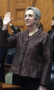 Rep. Balser being sworn in at the Massachusetts State House in January of 2019.